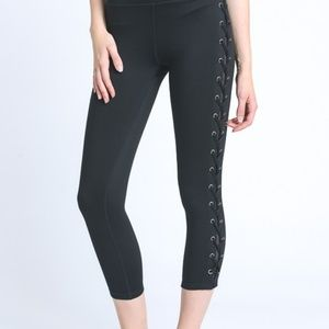 Pants - Eyelet Capri Length Leggings with Side Mesh